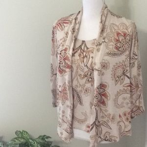 Alfred Dunner 2-fer blouse w/attached top&necklace